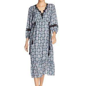 Kobi Halperin Peasant midi dress 100% silk lace XL